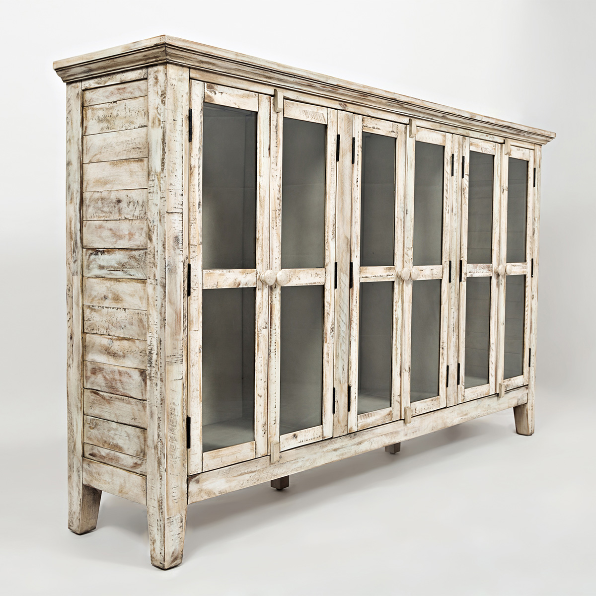 Accent cabinet with glass doors - Rustic Shores Scrimshaw 70 Accent Cabinet In Distressed Cream W Glass Doors
