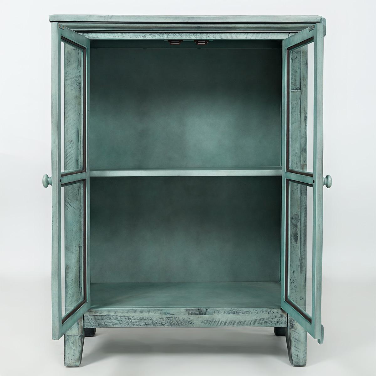 Accent cabinet with glass doors - Rustic Shores Surfside 32 Accent Cabinet In Distressed Vintage Blue W Glass Doors