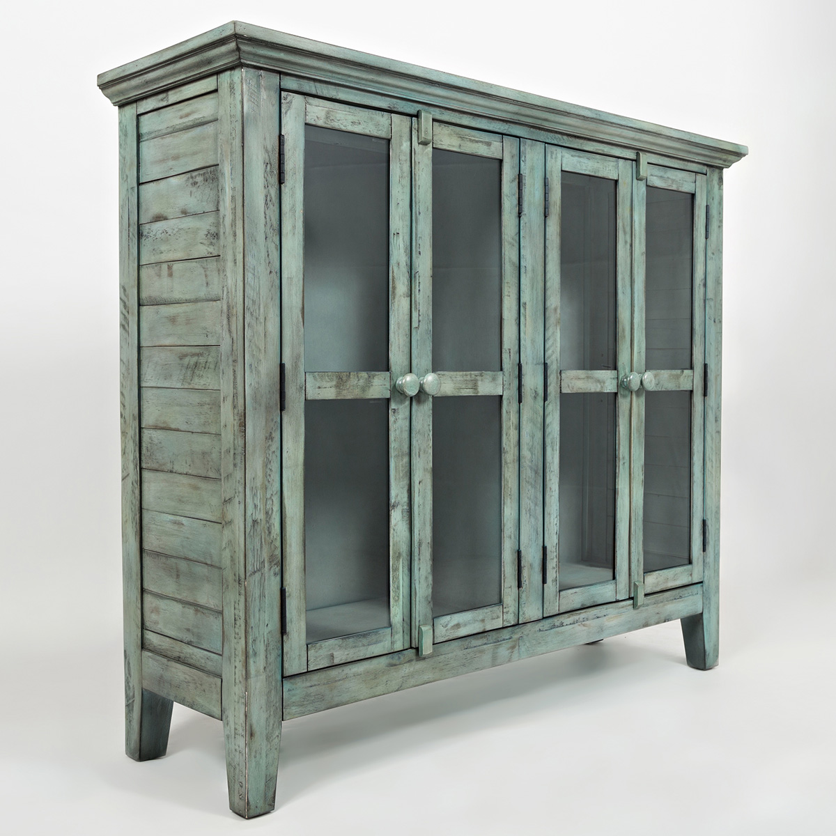 Accent cabinet with glass doors - Rustic Shores Surfside 48 Accent Cabinet In Distressed Vintage Blue W Glass Doors