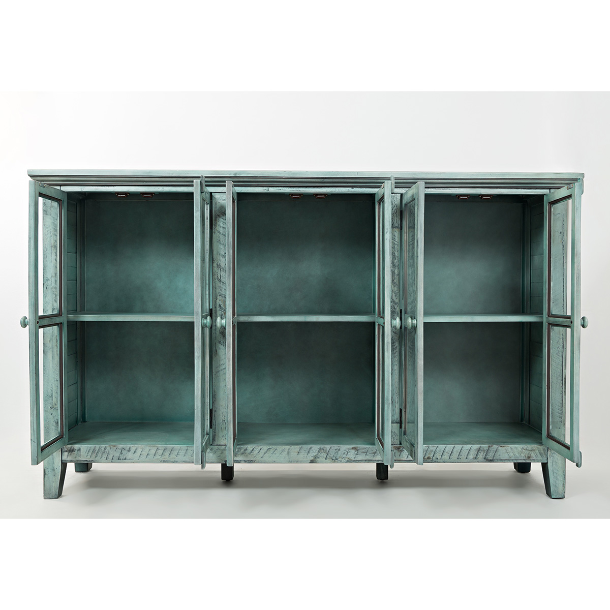 Accent cabinet with glass doors - Rustic Shores Surfside 70 Accent Cabinet In Distressed Vintage Blue W Glass Doors