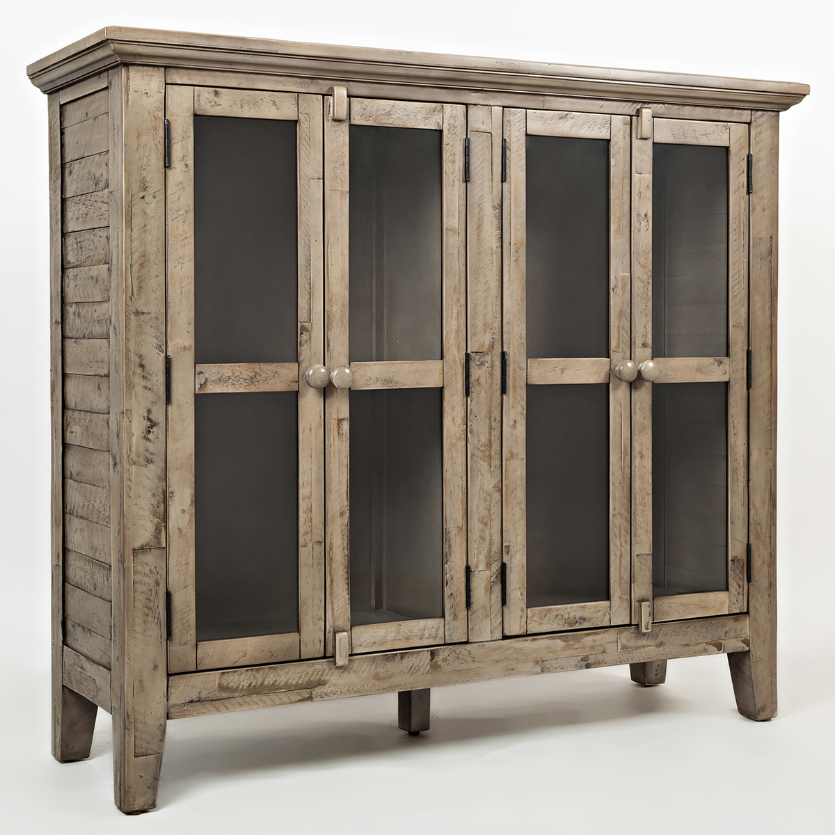 Accent cabinet with glass doors - Rustic Shores Watch Hill 48 Accent Cabinet In Distressed Weathered Grey W Glass Doors
