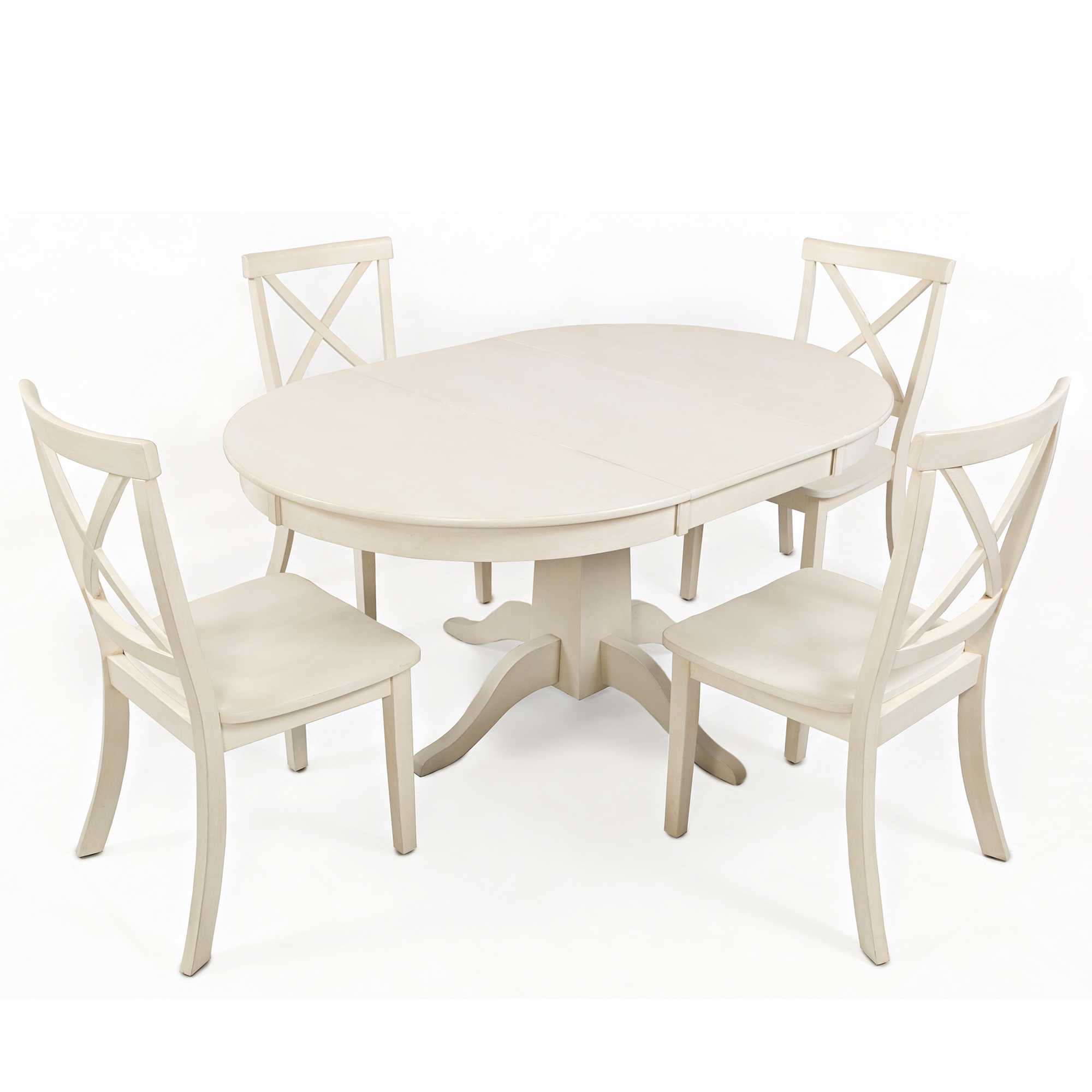 Terrific Everyday Classics Round To Oval Dining Table W 4 X Back Chairs In Linen By Jofran Andrewgaddart Wooden Chair Designs For Living Room Andrewgaddartcom