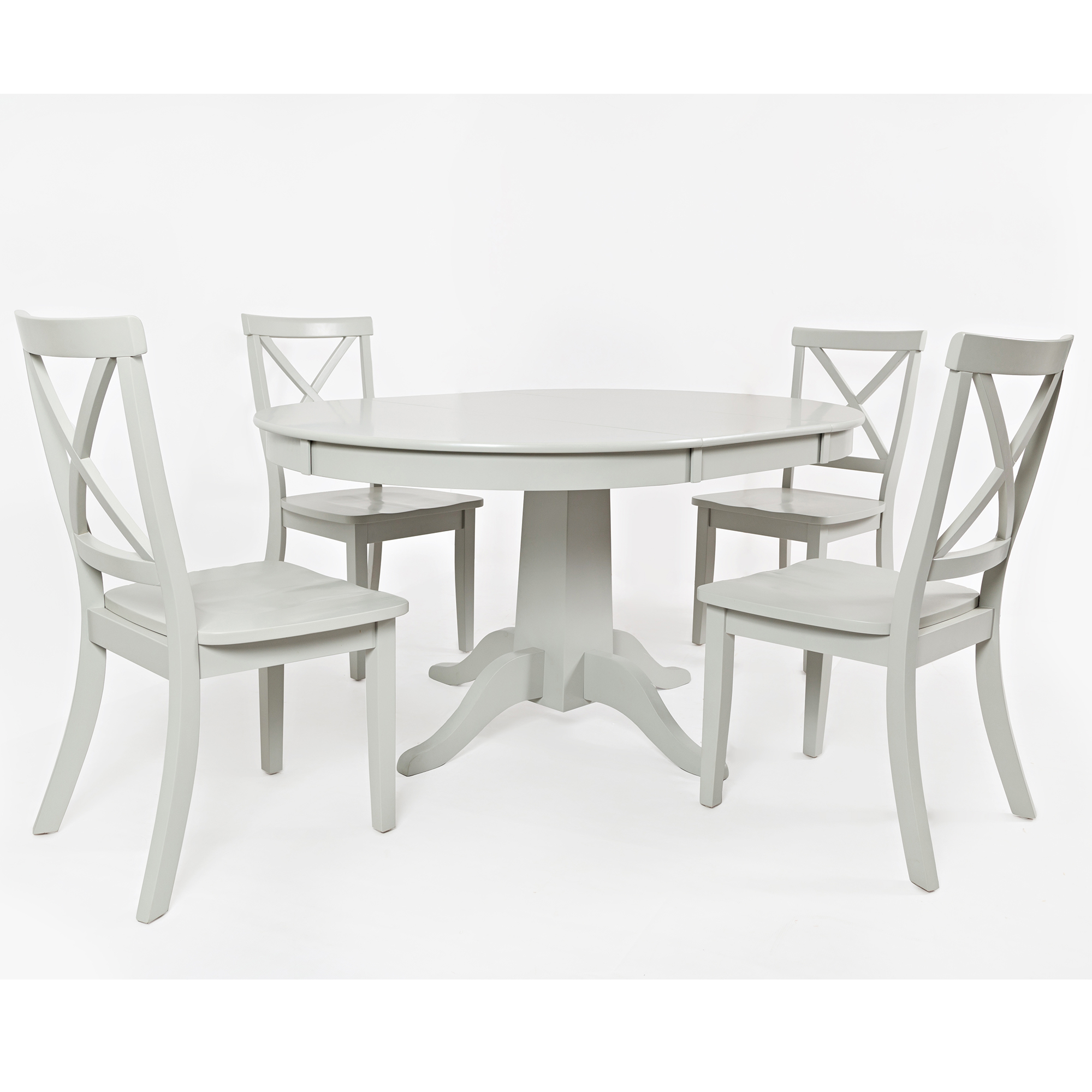Amazing Everyday Classics Round To Oval Dining Table W 4 X Back Chairs In Dove By Jofran Andrewgaddart Wooden Chair Designs For Living Room Andrewgaddartcom