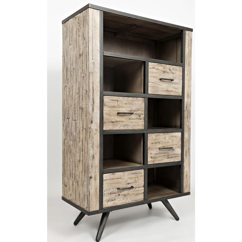American Retrospective Bookcase W Grey Wash Distressed Finish By Jofran