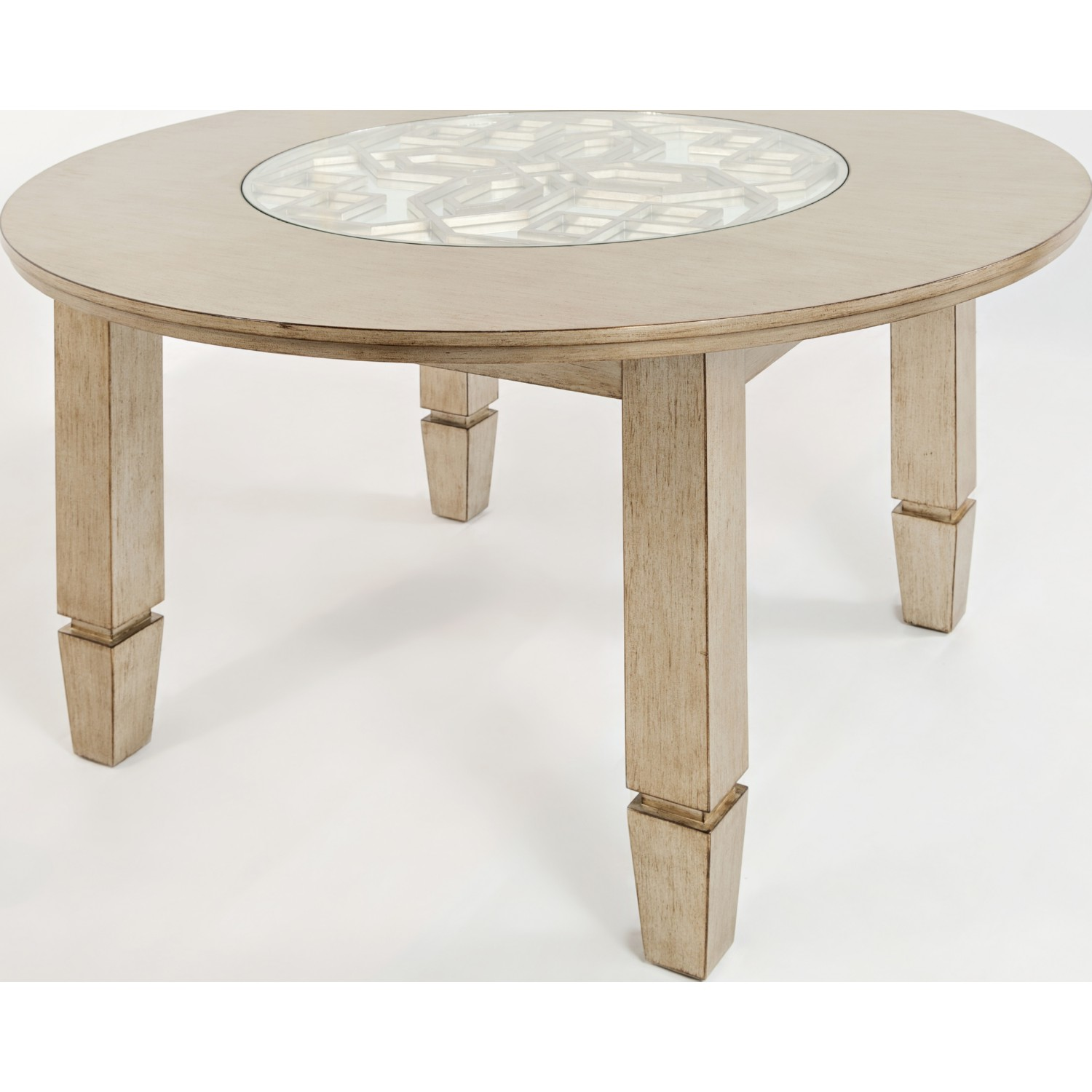 Casa Bella Round Dining Table In Vintage Silver W/ Mirror Inset Glass Top