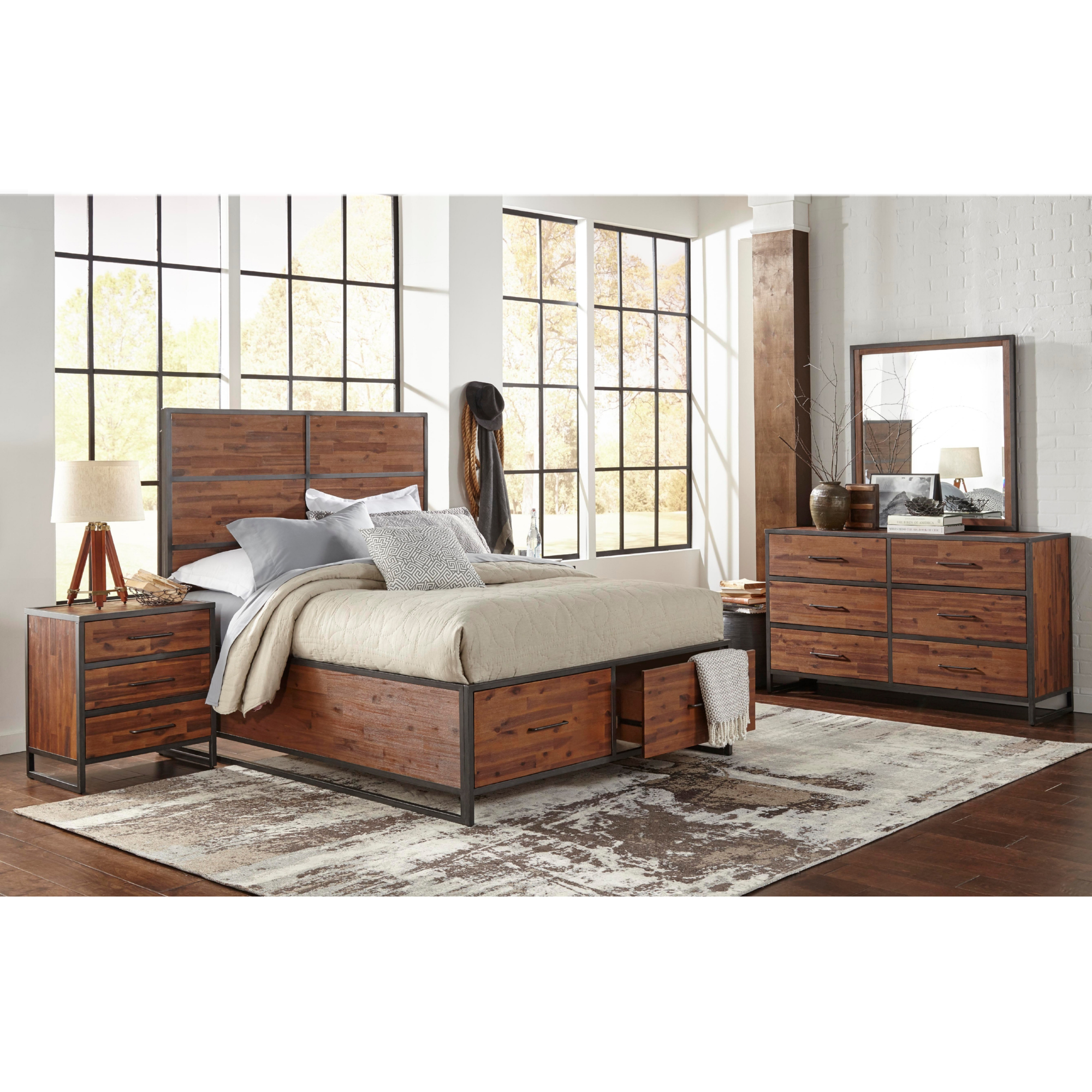 Studio 16 5 Piece Queen Bedroom Set In Acacia U0026 Metal
