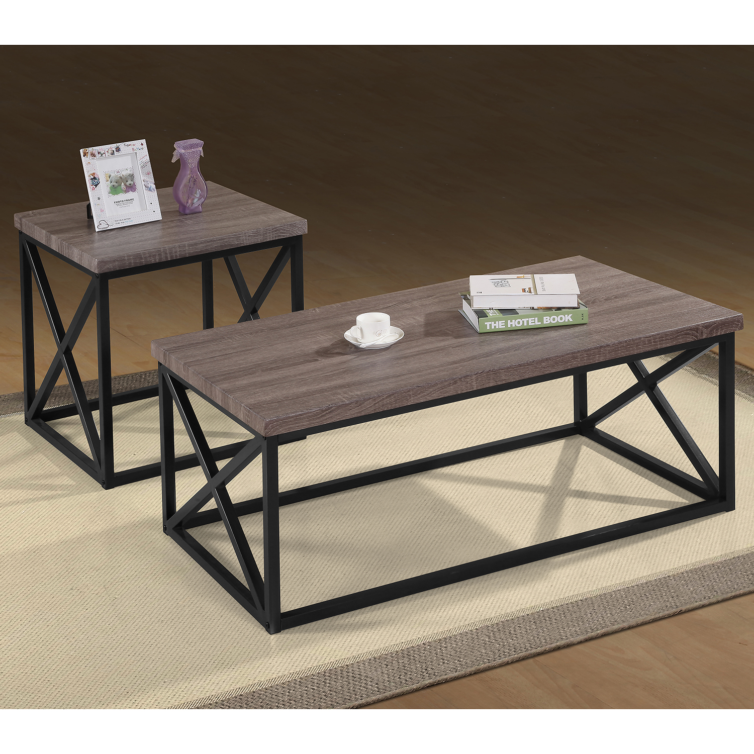 Jofran 1728 Orion 3 Piece Occasional Table Set in Dark Grey on X