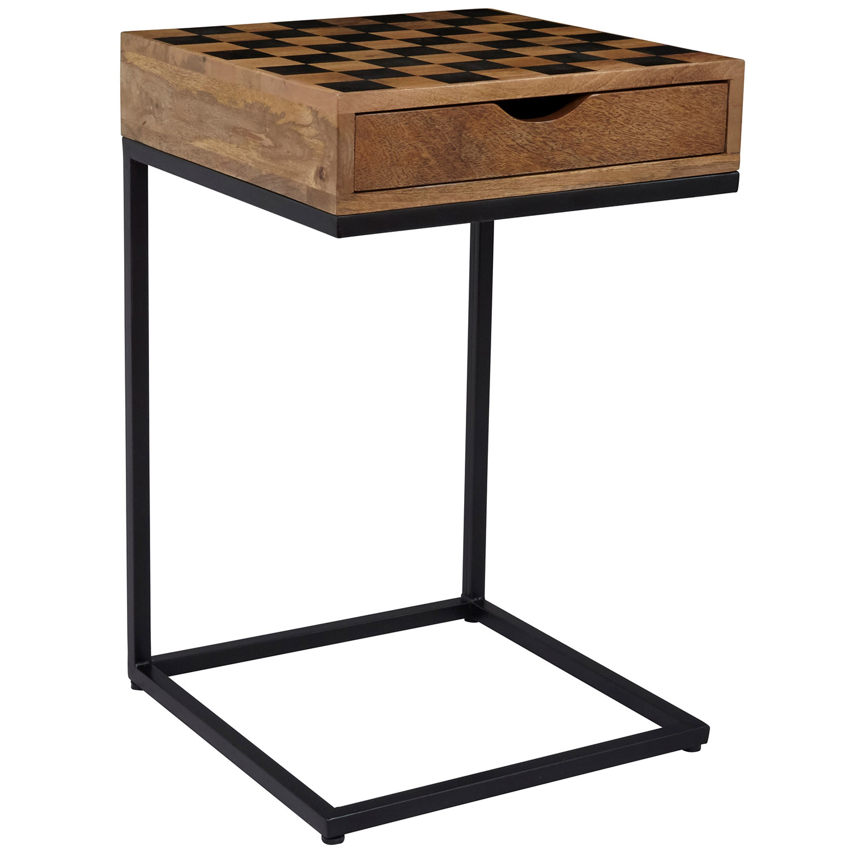 Jofran Global Archive Checkerboard C Side Table In Mango Wood U0026 Metal
