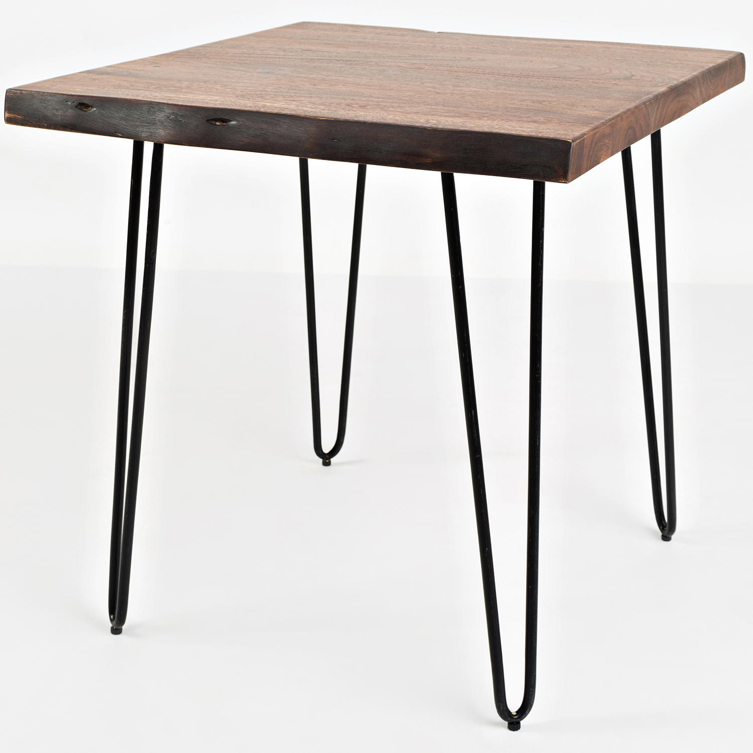Natureu0027s Edge End Table In Live Edge Acacia On Iron Hairpin Legs