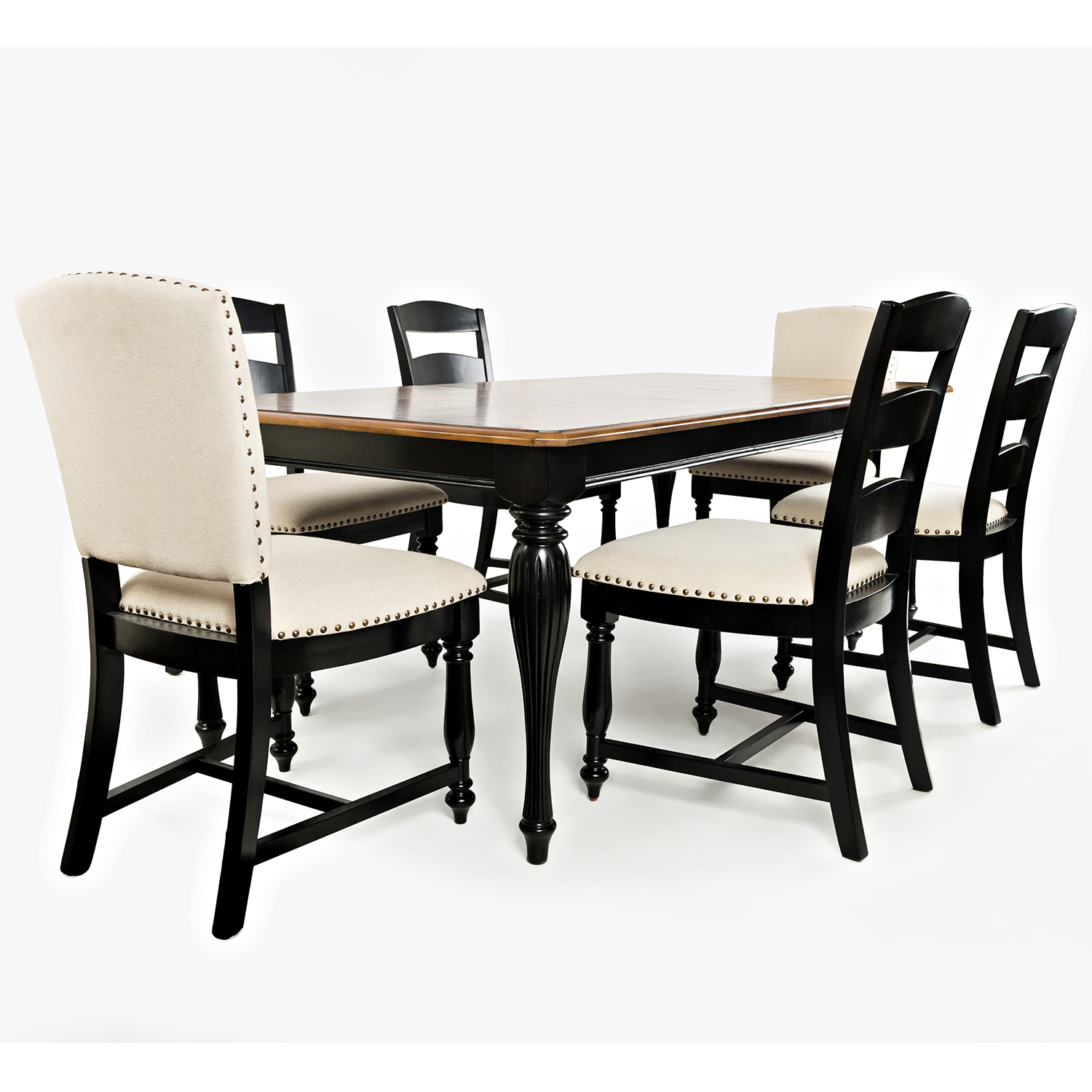 Castle Hill 84 Rectangle Dining Table In Antique Black W Oak Top