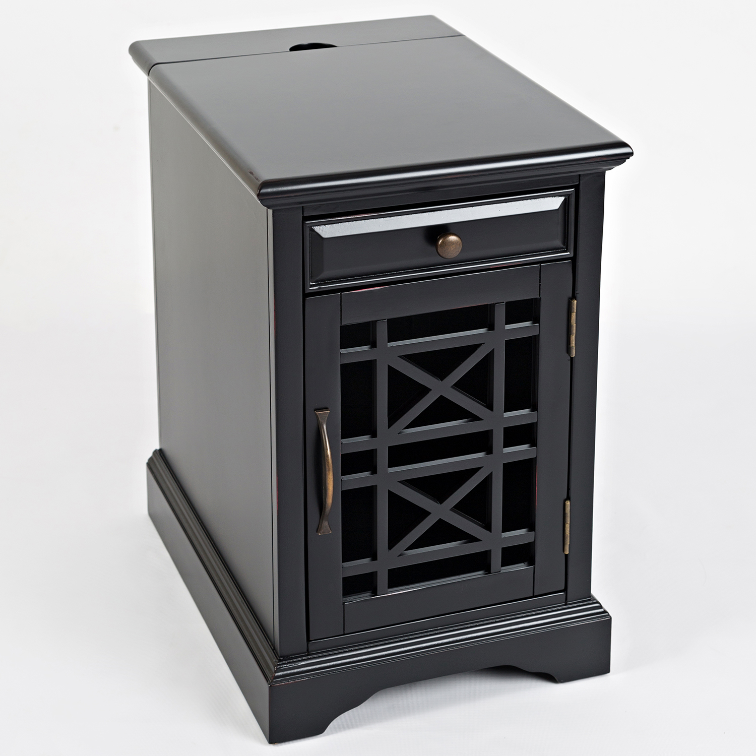 Craftsman Chair Side Table In Antique Distressed Black Acacia By Jofran
