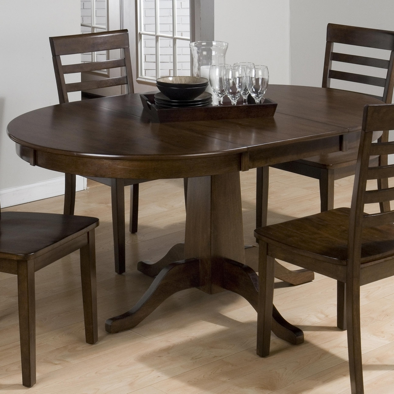 Jofran 342 60t 60b taylor cherry round to oval dining for Round wood kitchen table with leaf