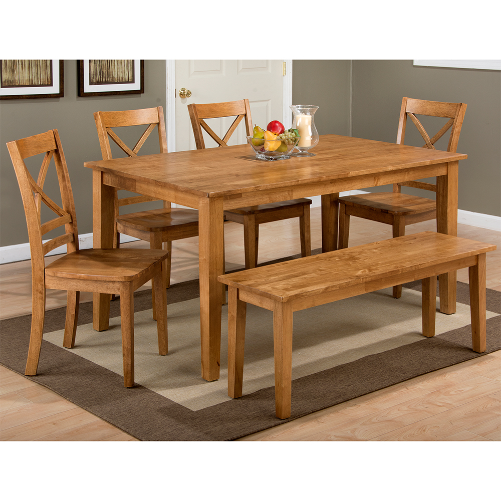 Simplicity Honey 6 Piece Dining Set - Table, 4 X Chairs & Bench by Jofran