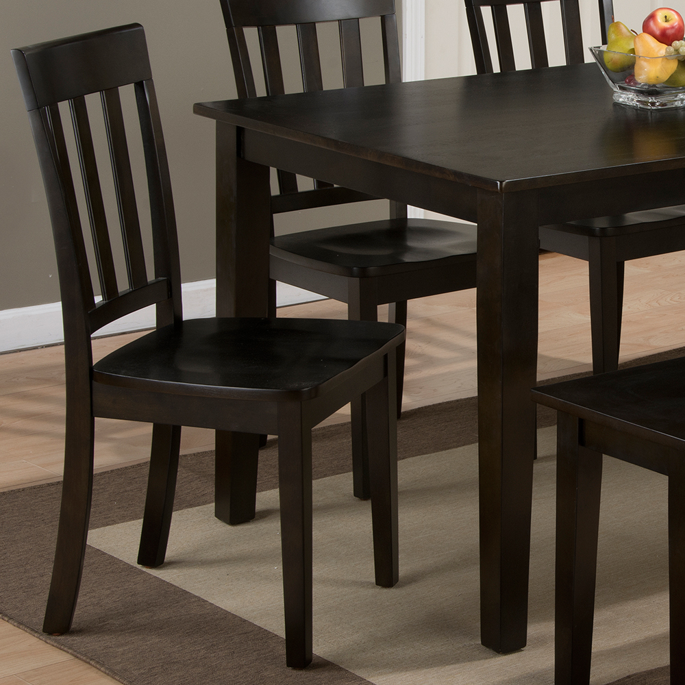 Jofran Simplicity Espresso 6 Piece Dining Set   Table, 4 Slat Chairs U0026 Bench