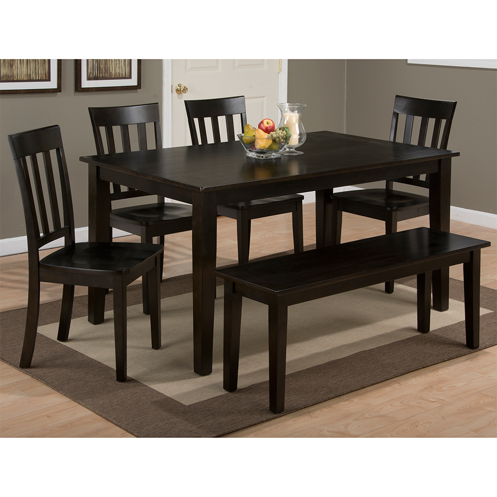 Simplicity Espresso 9 Piece Dining Set   Table, 9 Slat Chairs & Bench by  Jofran