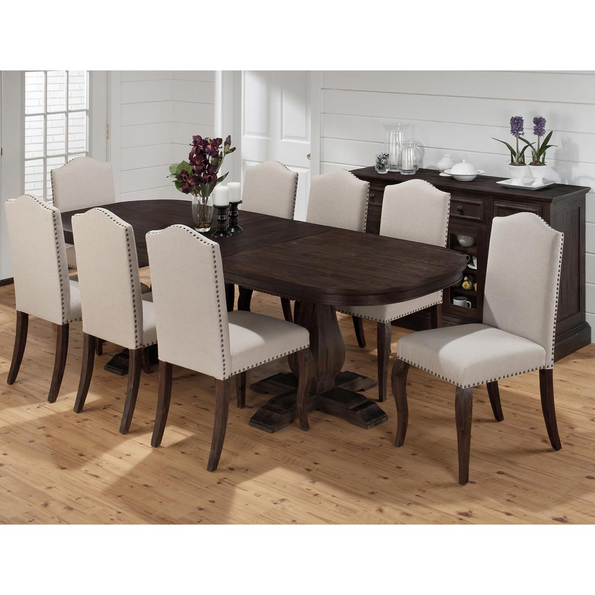 Astounding Grand Terrace Traditional Dining Table In Dark Brown Cherry Hand Scraped Finish W 8 Upholstered Cha By Jofran Lamtechconsult Wood Chair Design Ideas Lamtechconsultcom