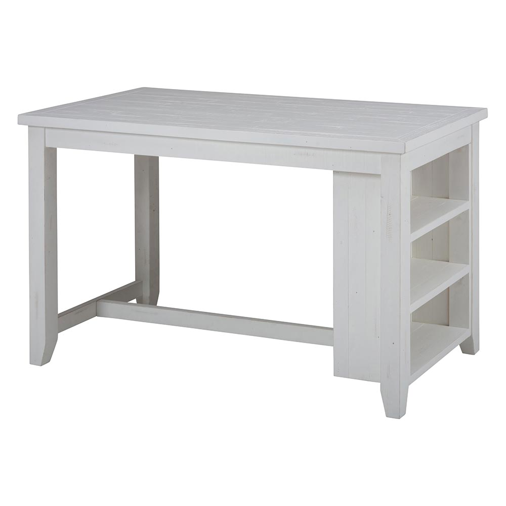 Charming Madaket Reclaimed Pine Counter Height Table In White W/ Storage