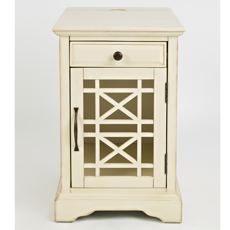 Jofran 675 22 Craftsman Power Chairside Table in Antique