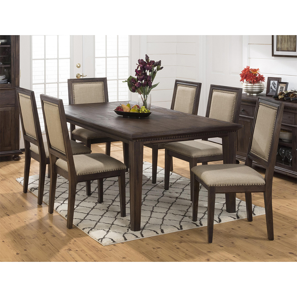 Geneva Hills Expandable Dining Table & 6 Side Chair Set in Rustic Brown by  Jofran