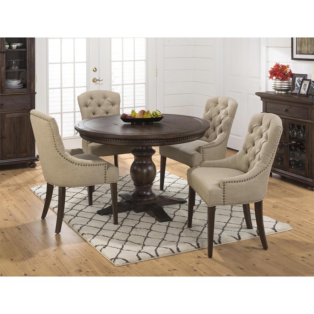 Jofran Geneva Hills Round To Oval Pedestal Table U0026 4 Chairs Set