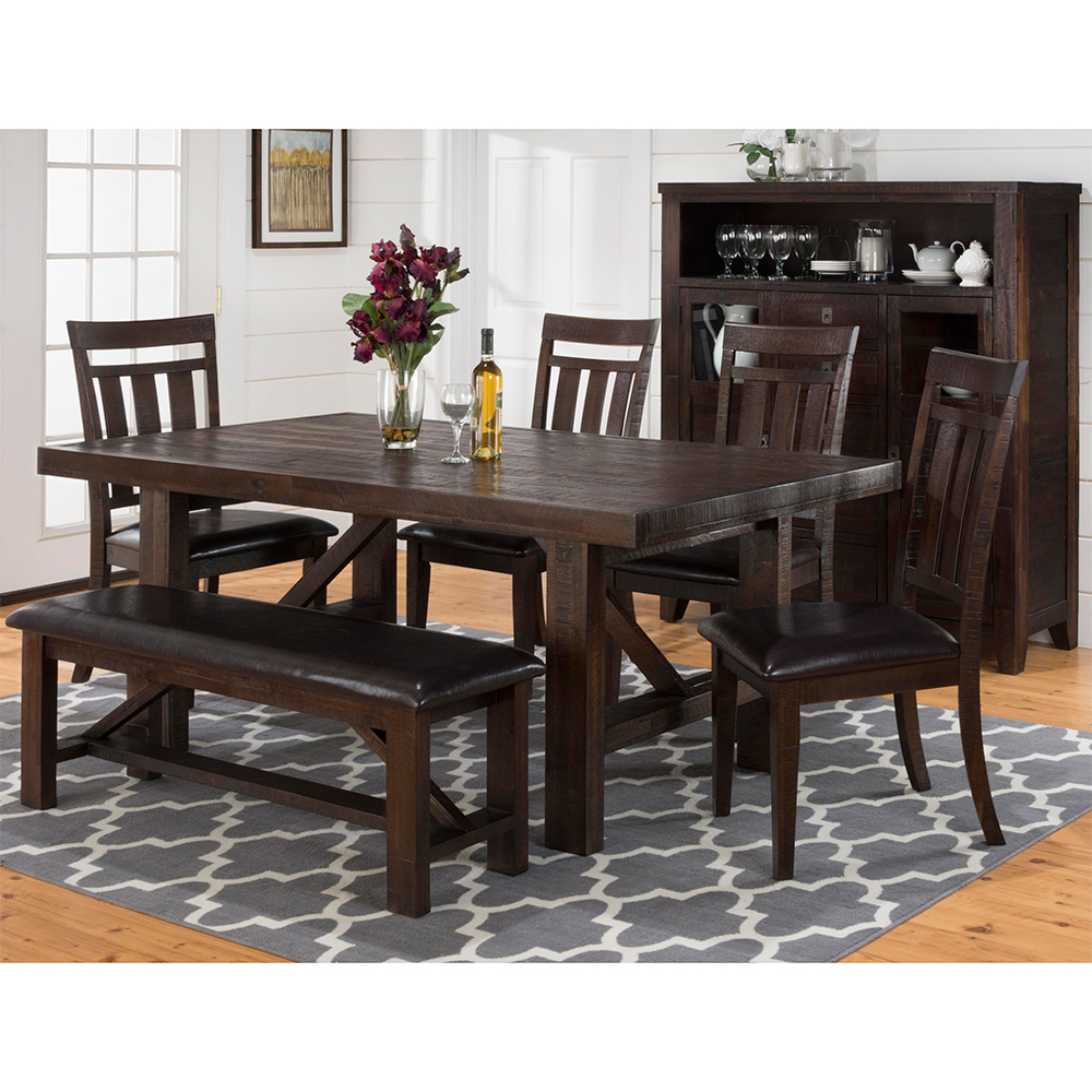 Jofran 705 79+705 20KD+2x705 410KD Kona Grove Dining Table W/ 4 Dining  Chairs U0026 Dining Bench