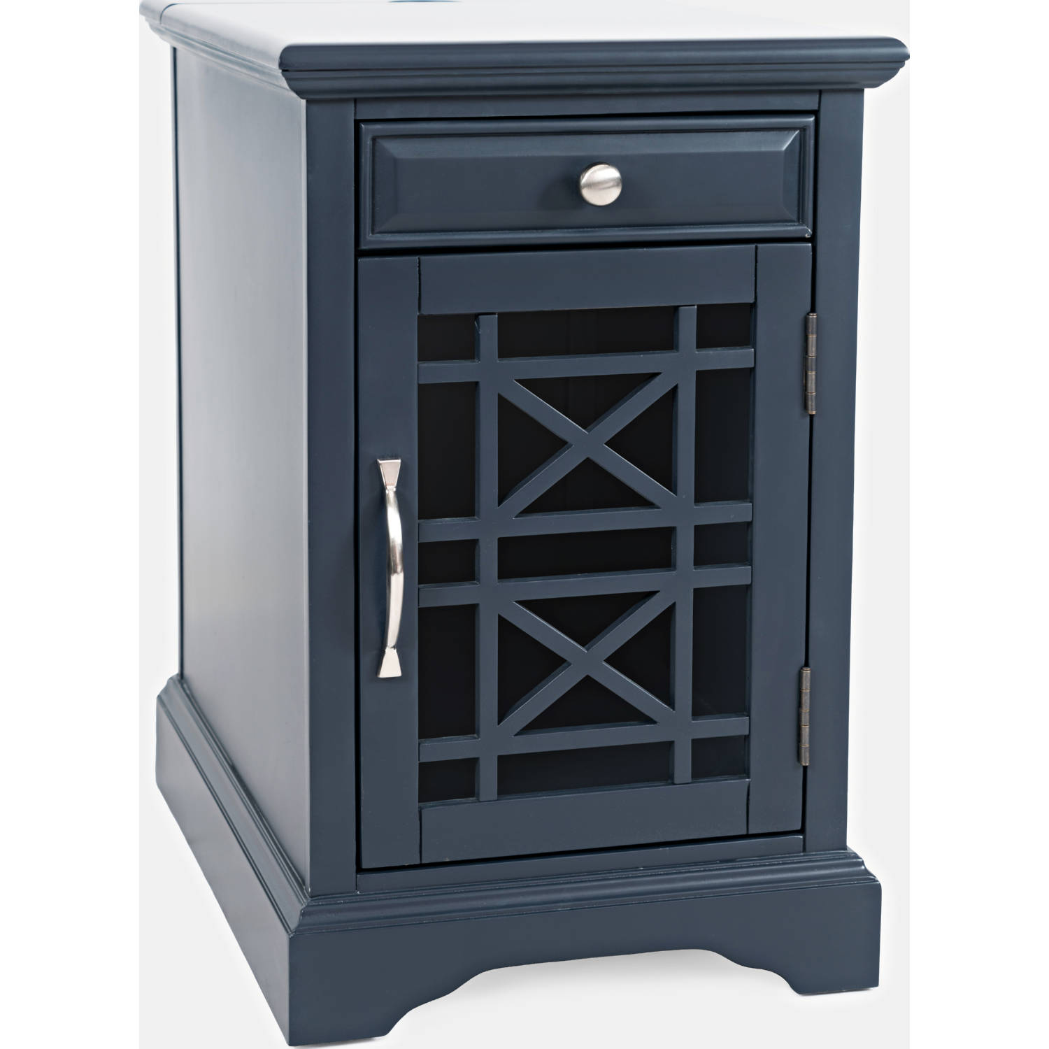 Craftsman Power Side Table In Distressed Navy Blue By Jofran