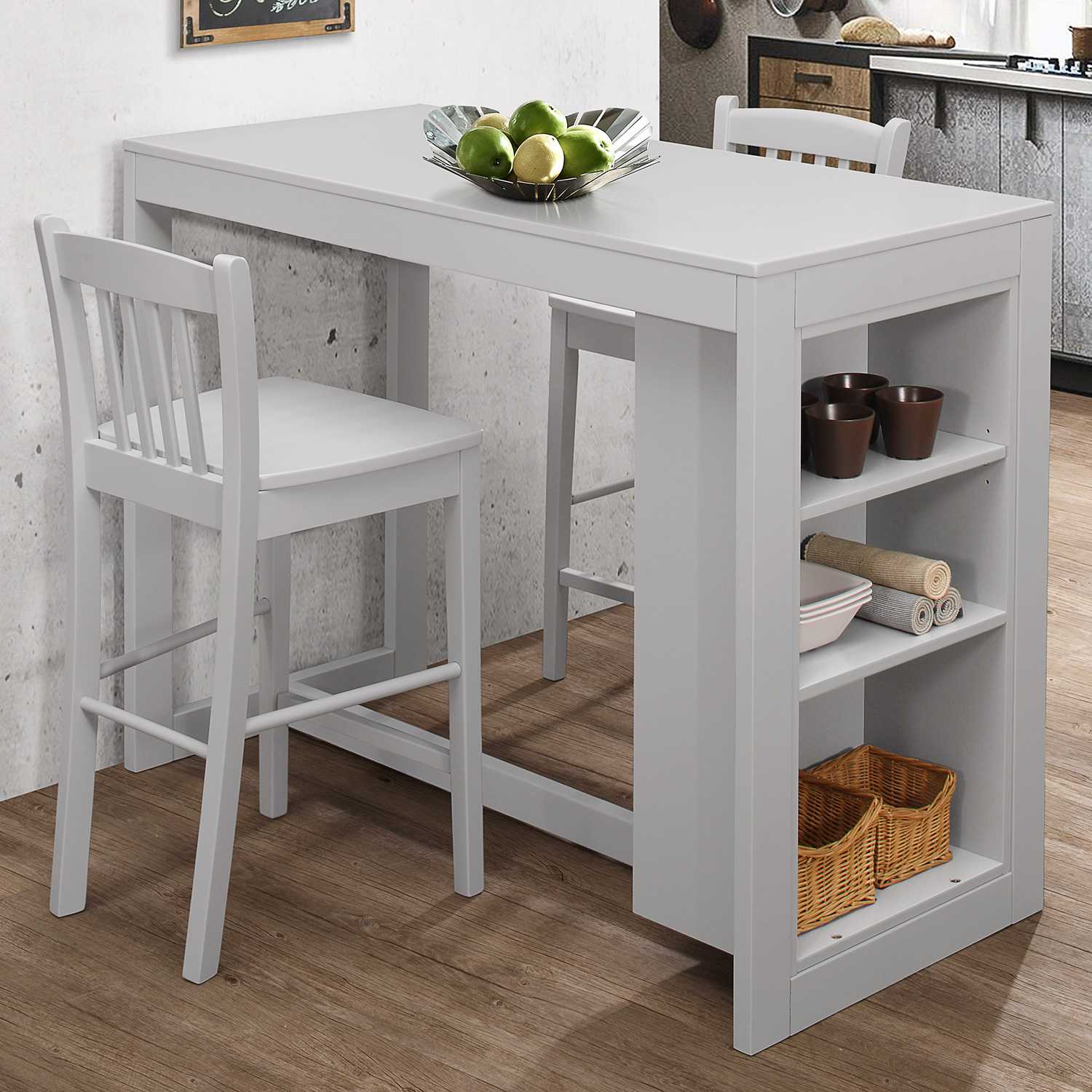 Jofran Tribeca Counter Height 3 Piece Dining Set In Grey