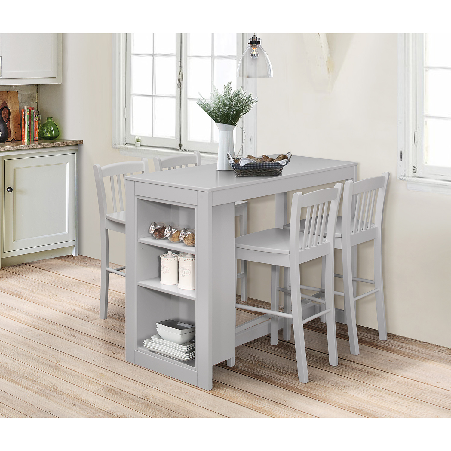 Jofran 813EC 48 Tribeca Counter Height Table W 3 Storage Shelves In