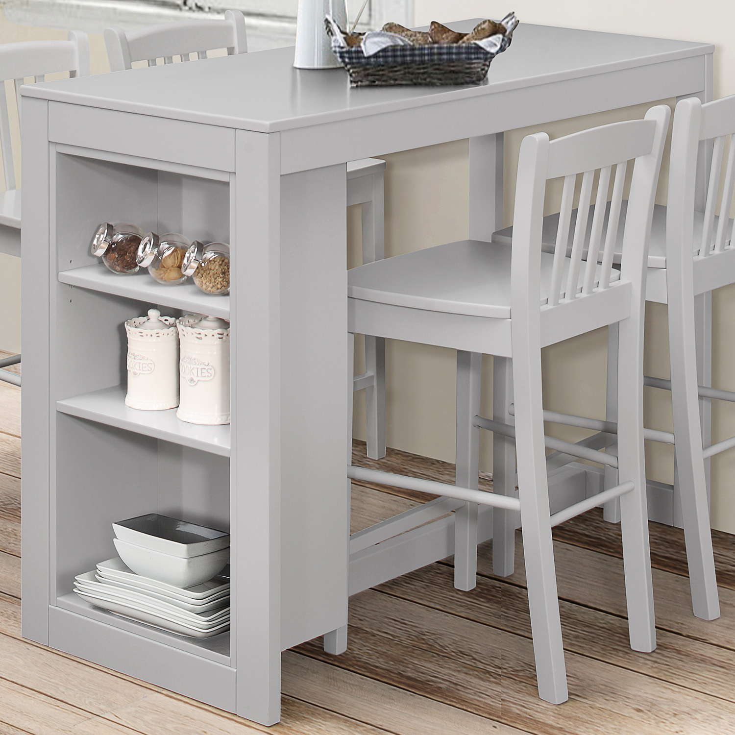 Jofran 813EC 48 Tribeca Counter Height Table W/ 3 Storage Shelves In Grey