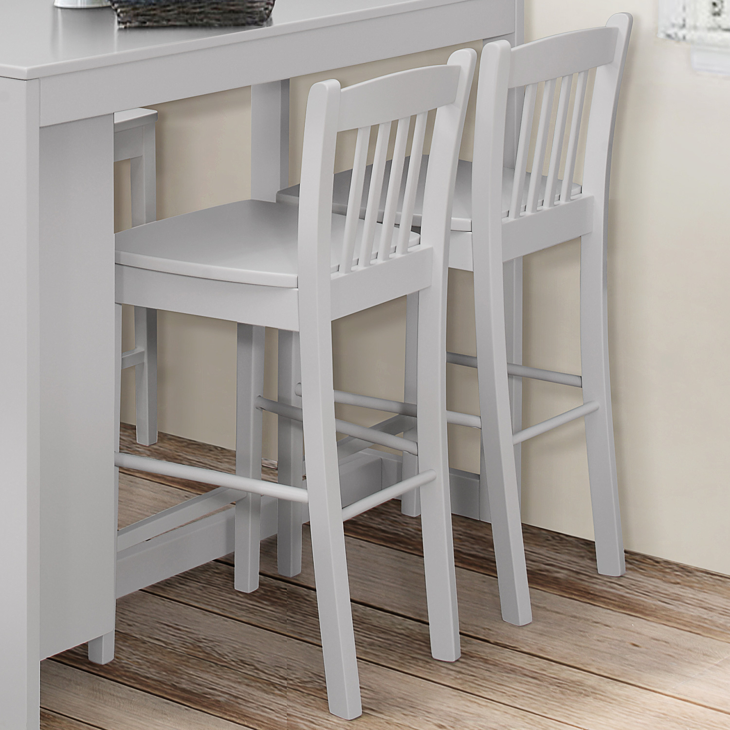 Tribeca Slat Back Counter Height Stool In Grey Set Of 2