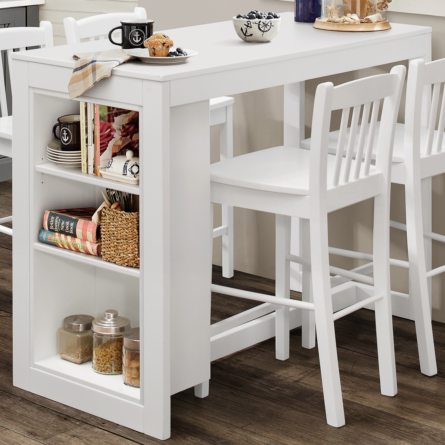 Jofran 816ec 48 Tribeca Counter Height Table W 3 Storage
