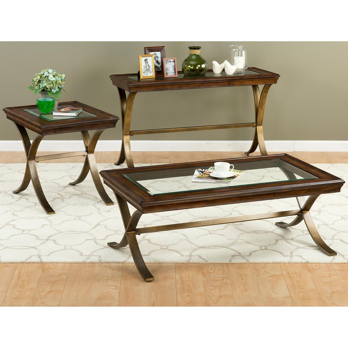jofran  ashland sofa table w chocolate pine  glass top on  - jofran ashland sofa table w chocolate pine  glass top on curved steel legs
