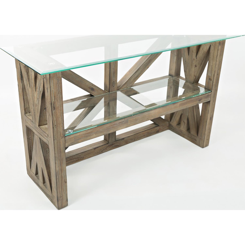 jofran bgkt hampton road server sofa table in sandblasted  - hampton road server sofa table in sandblasted acacia  tempered glass