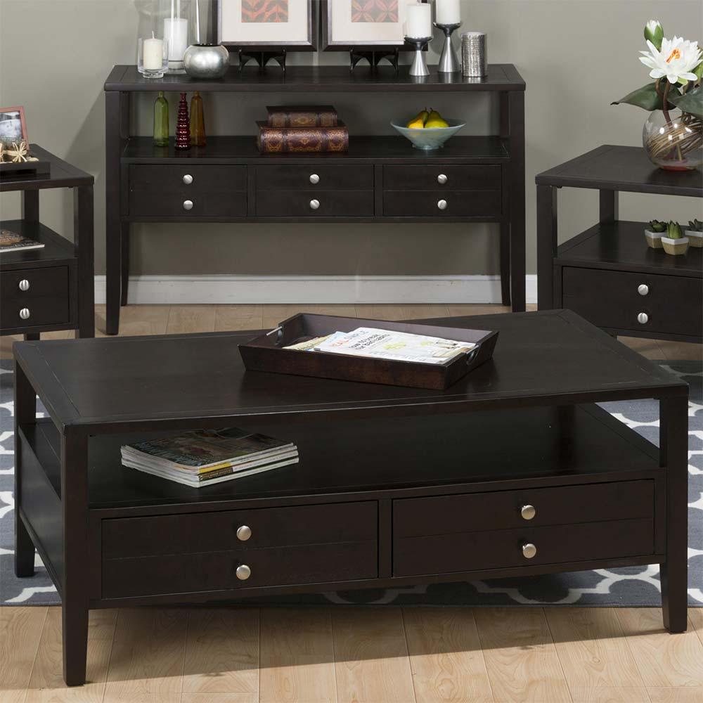 jofran 975-1 hamilton espresso coffee table w/ 2 pull through drawers