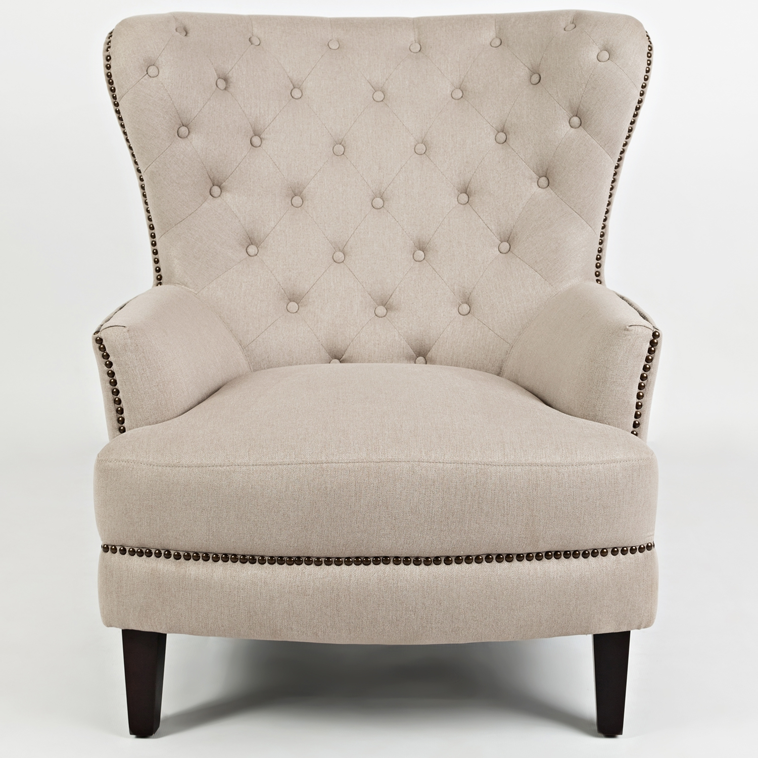 Conner Wingback Accent Chair In Tufted Easy Living Taupe Fabric W/ Nailhead  Trim
