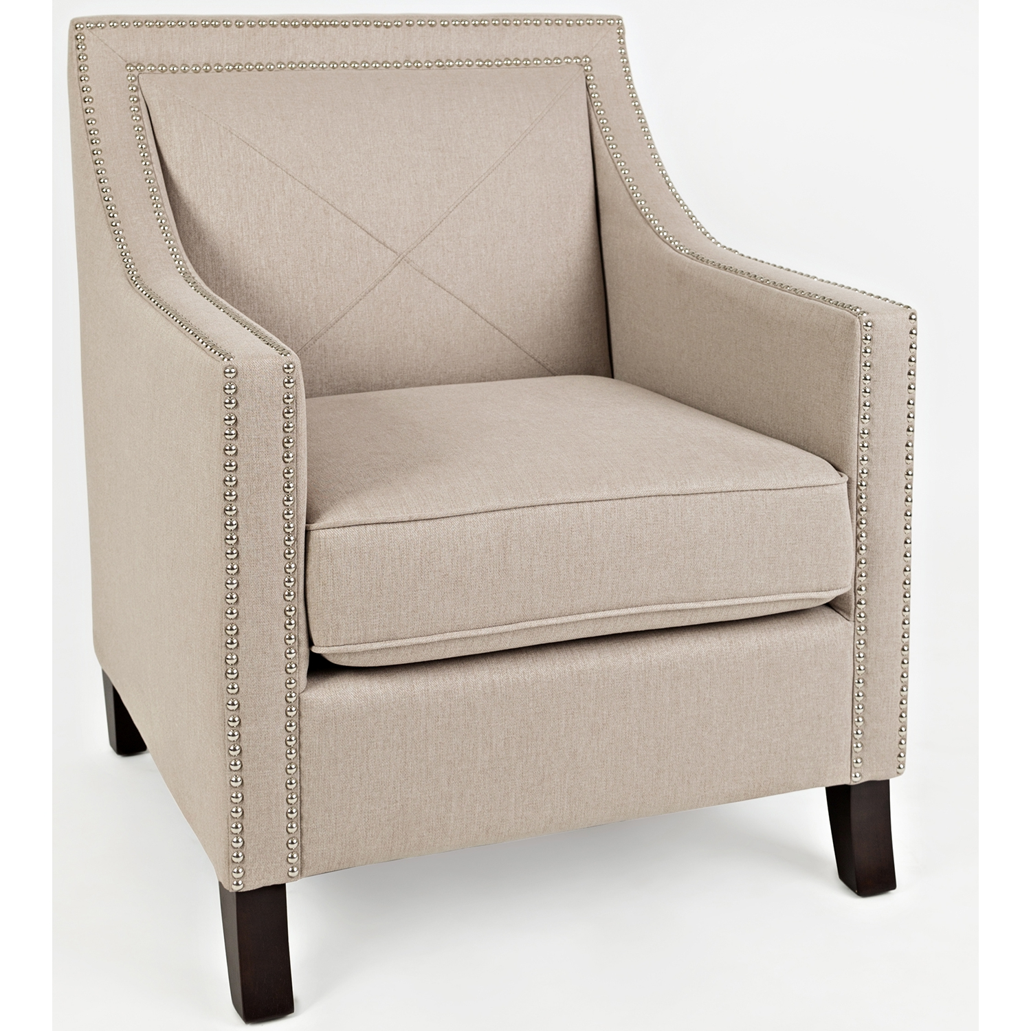 Luca Accent Chair In Easy Living Taupe Fabric W/ Nailhead Trim