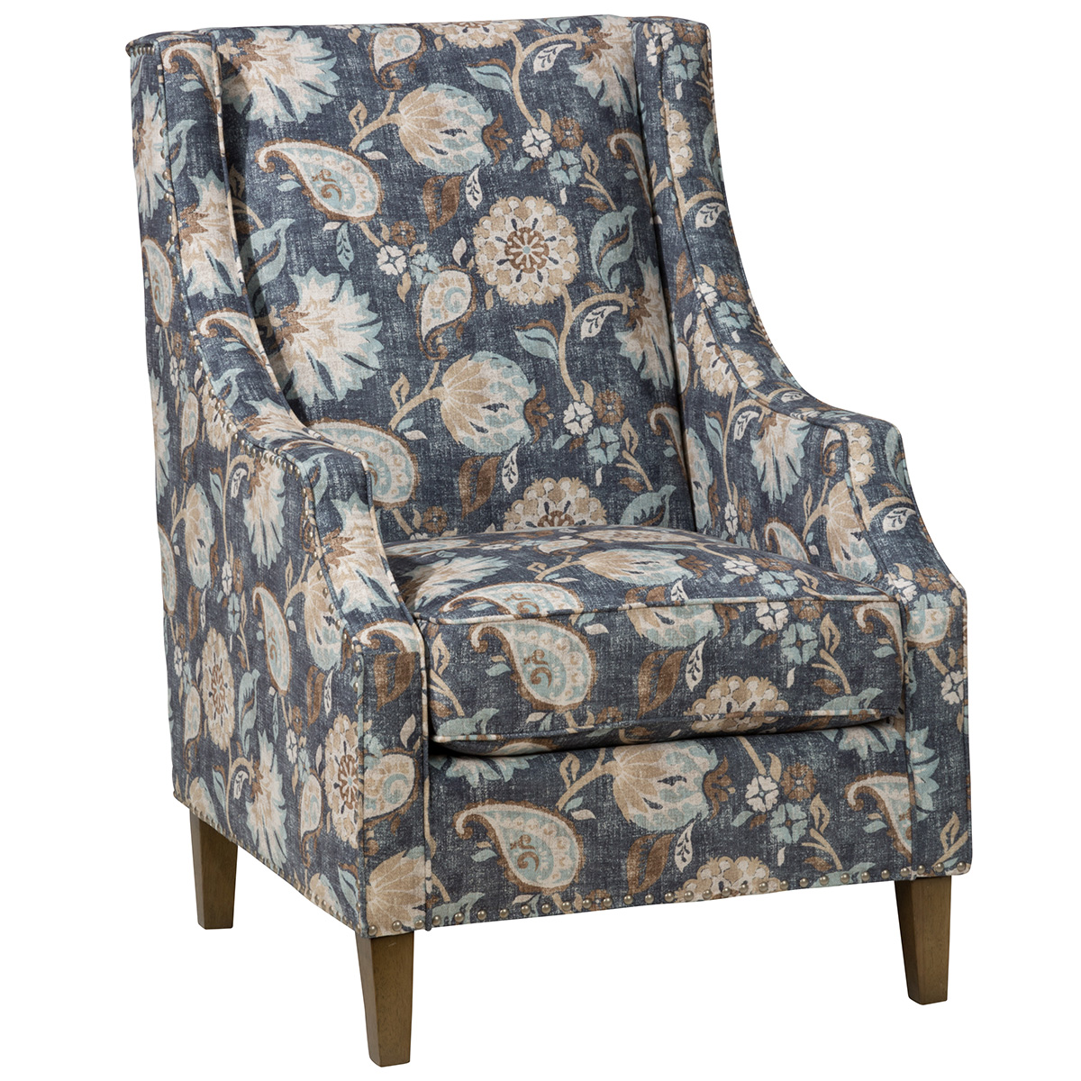 Westbrook Accent Chair In Blue Floral Fabric W/ Nailhead Trim