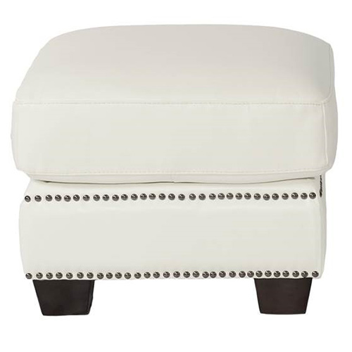 Marilyn Ottoman In Antique White Top Grain Leather