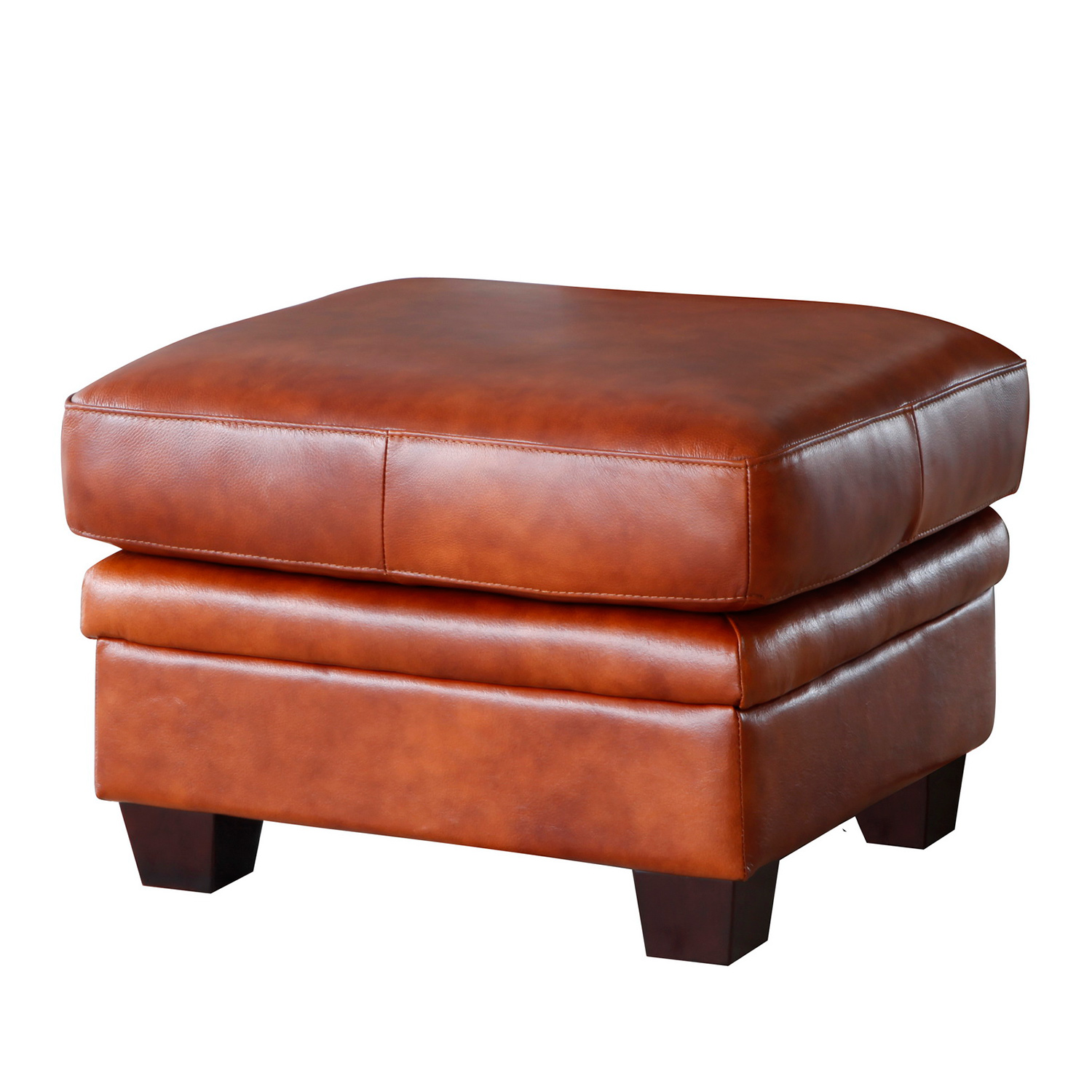 Aberdeen Ottoman In Auburn Top Grain Leather