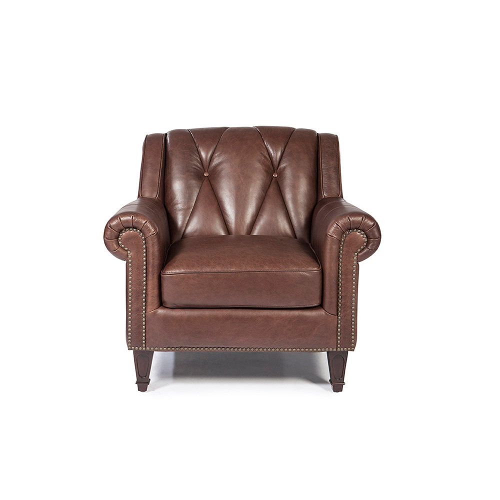Lucia Arm Chair In French Beige Vintage Leather