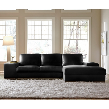 Lazzaro Furniture Sussex Right Side Facing Chaise Sectional Sofa In Black  Top Grain Leather
