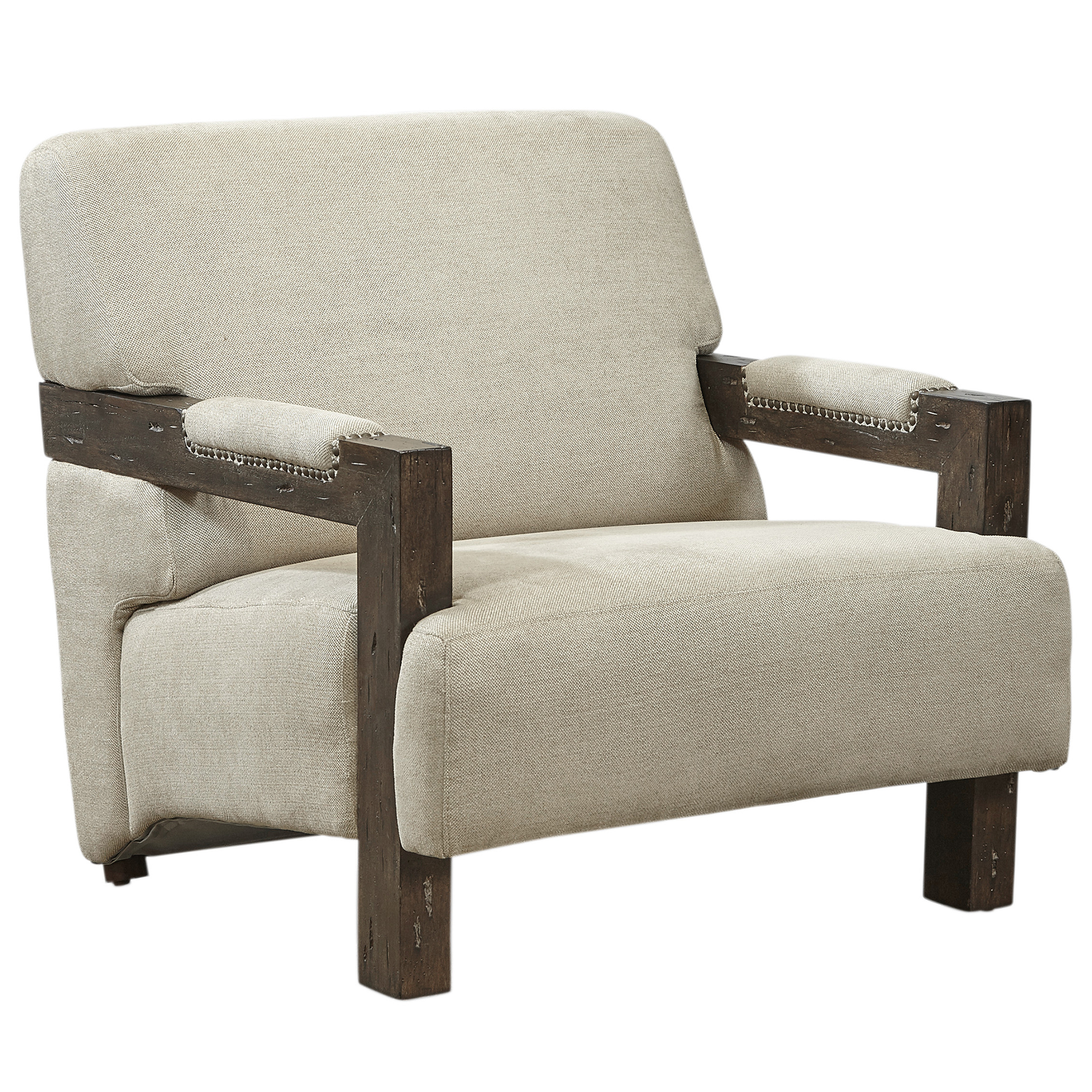 Miraculous Berkley Ii Arm Chair In Creme Fabric W Wood Arms By Lazzaro Furniture Theyellowbook Wood Chair Design Ideas Theyellowbookinfo