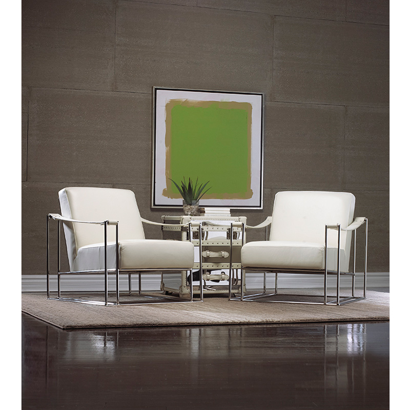 Miranda Silver Sling Chair In White Top Grain Leather