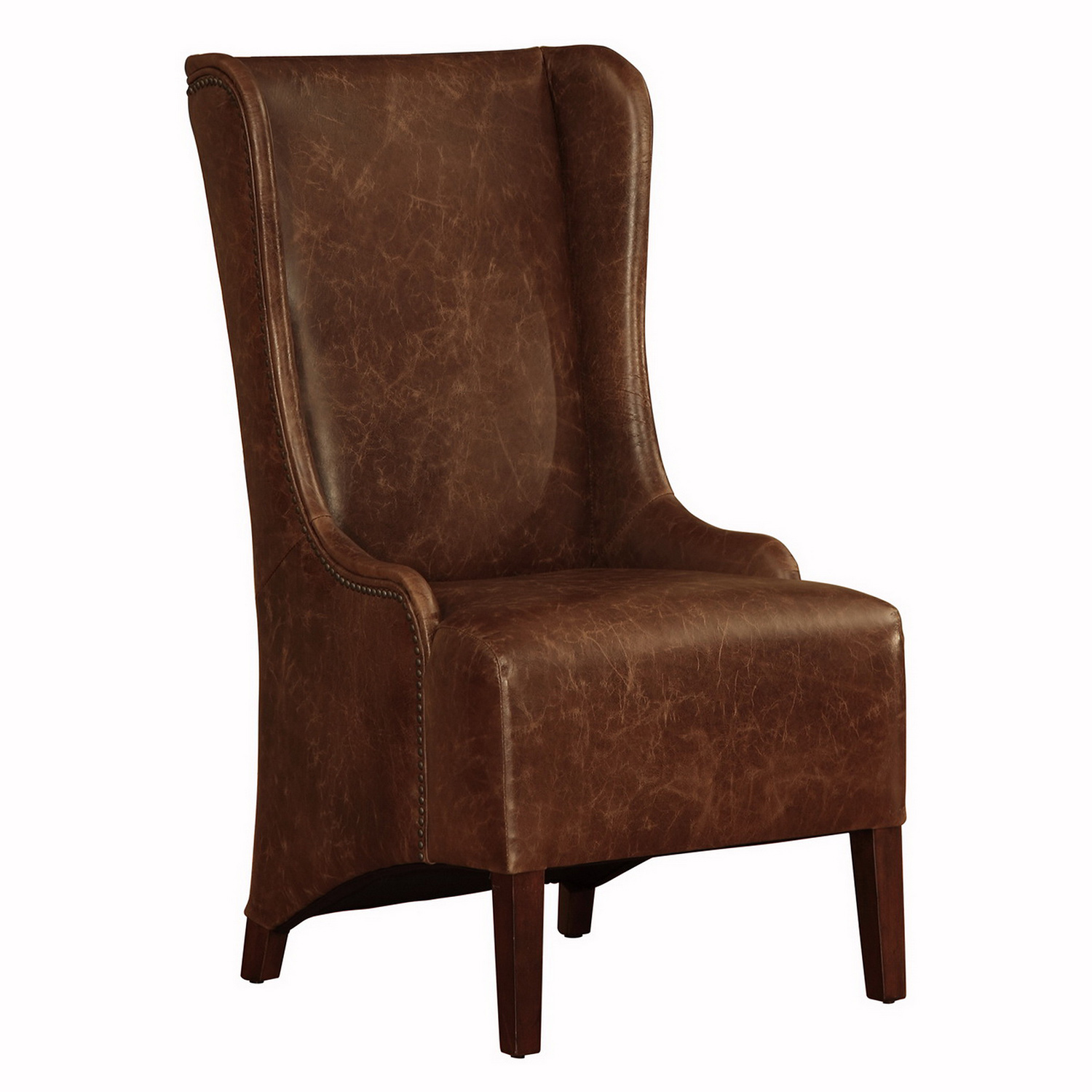 Wondrous Wessex High Back Dining Chair In Cocoa Brompton Brown Vintage Leather By Lazzaro Furniture Gamerscity Chair Design For Home Gamerscityorg