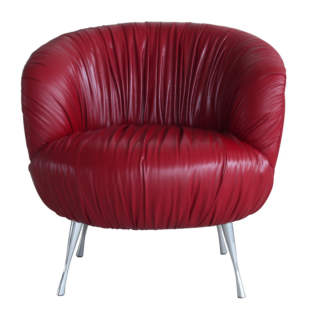 Verona Accent Chair In Red Top Grain Leather