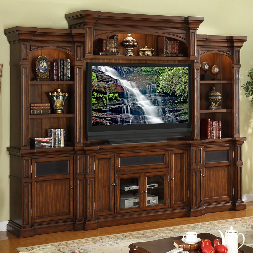Legends Furniture Berkshire 4 Piece TV Stand Entertainment Center Wall Unit  In Distressed Umber