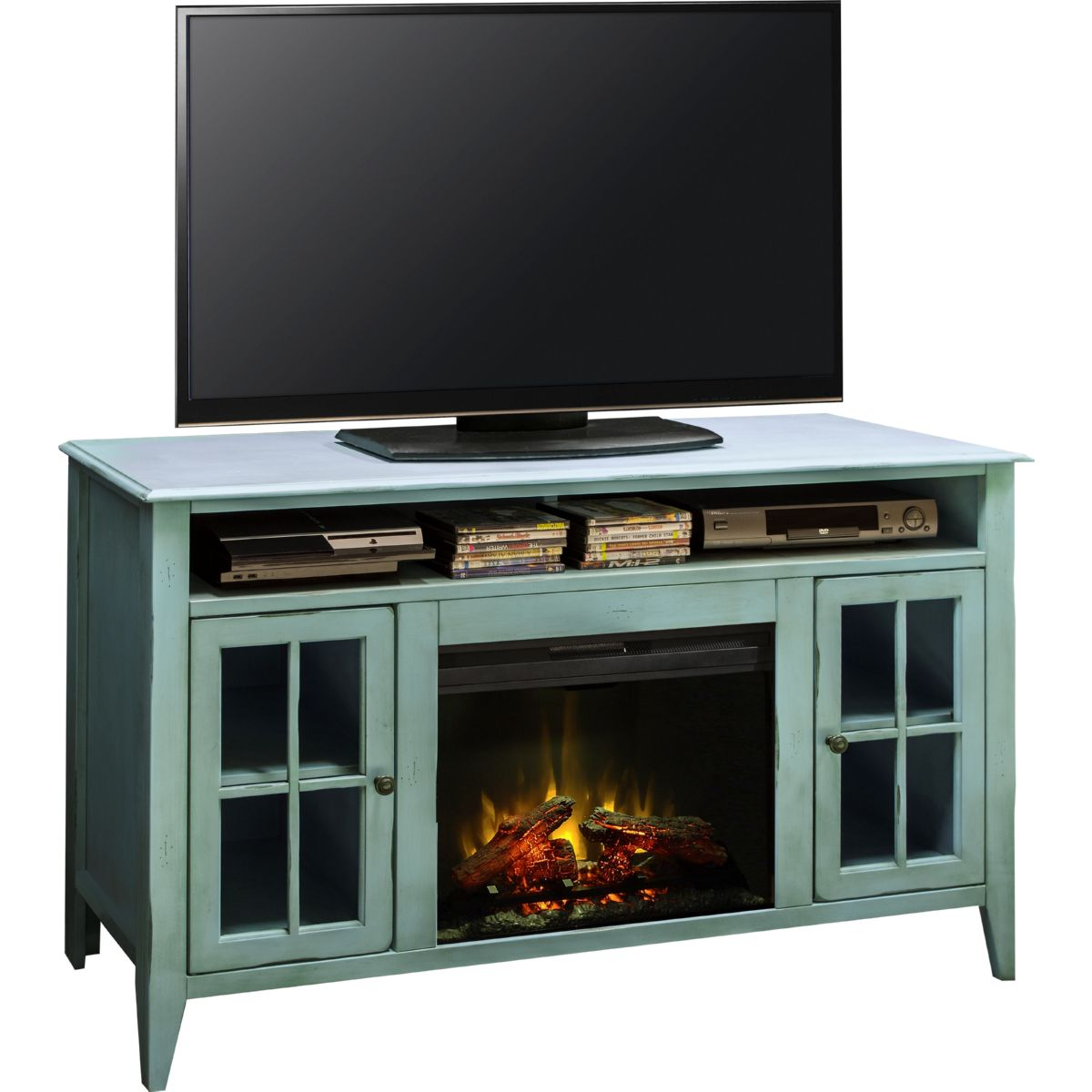 "Legends Furniture CA5312 Calistoga Blue 60"" Fireplace Console Distressed Finish Legends-CA5312"