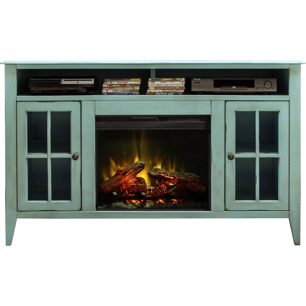 "Legends Furniture CA5312 Calistoga Blue 60"" Fireplace Console Distressed Finish Legends-CA5312"