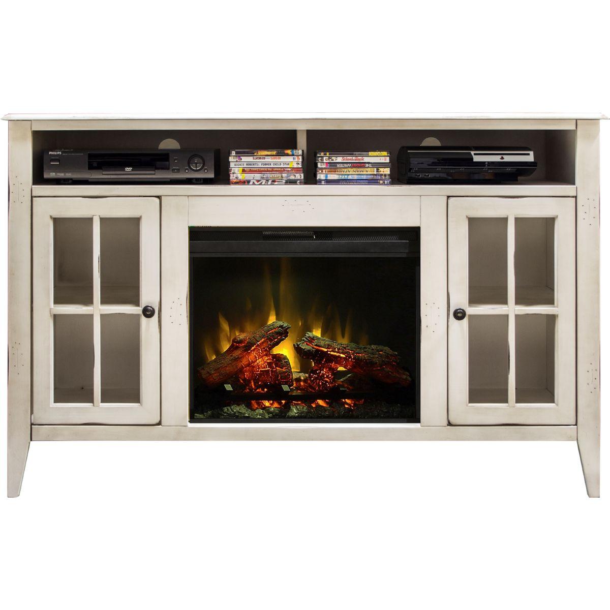 """Legends Furniture CA5314 Calistoga White 60"""" Fireplace Console Distressed Finish Legends-CA5314"""