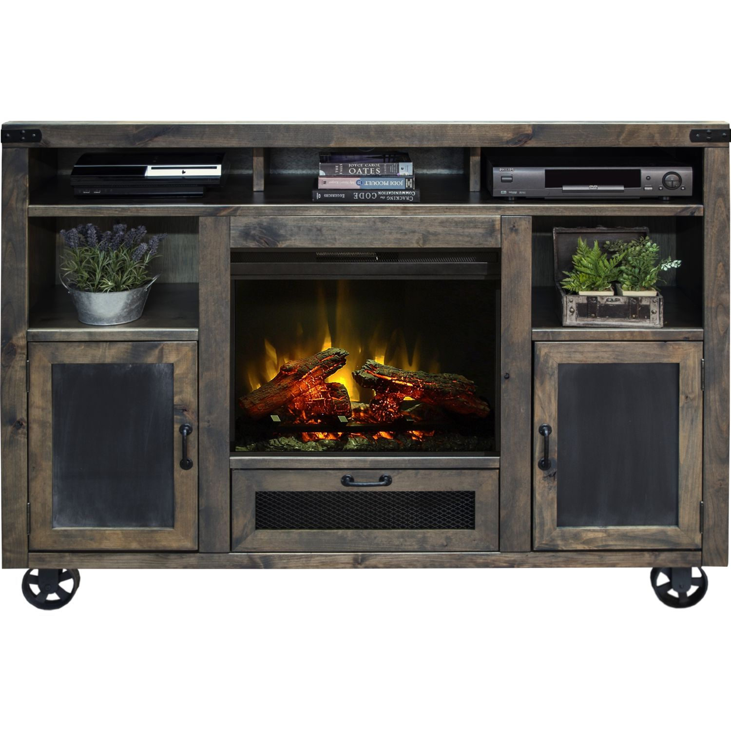 "Legends Furniture CO5351 Cargo 62"" Fireplace TV Stand Console Distressed Barnwood Legends-CO5351"